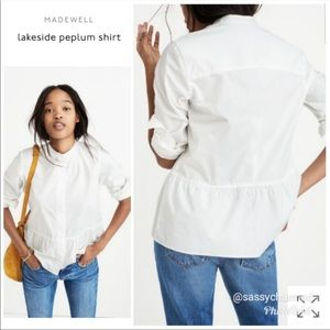 Madewell Peplum White Buttoned Blouse Size Large